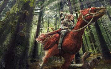 Картинка фэнтези красавицы+и+чудовища девушка птица деревья лес арт транспорт