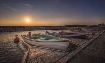 обоя корабли, лодки,  шлюпки, рассвет