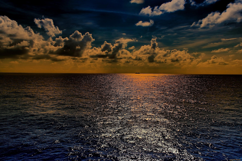 природа море солнце горизонт небо облака  № 717707  скачать