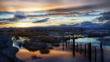 Картинка природа реки озера небо ночь поле