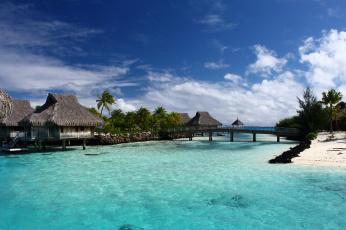 Картинка bora+bora+lagoon природа тропики бунгало океан лагуна