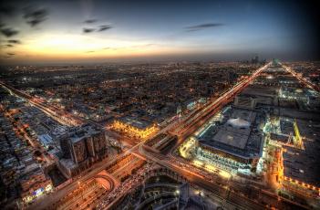 Картинка riyadh +saudi+arabia города -+столицы+государств город рассвет ночь огни магистрали