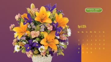обоя календари, цветы, букет