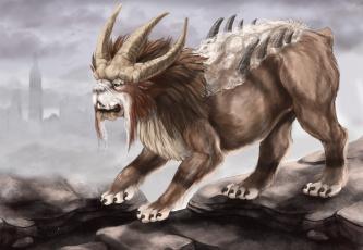 обоя фэнтези, существа, монстр, Чудовище, шерсть, шипы, рога, лев