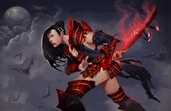 Картинка фэнтези эльфы униформа меч фон девушка