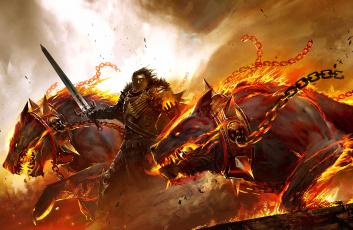 обоя фэнтези, нежить, огонь, существа, чудища, пламя, монстры
