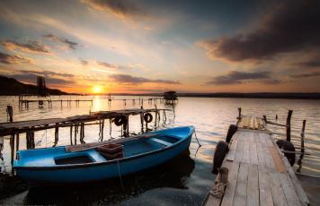 Картинка корабли лодки +шлюпки закат небо море ivailo bosev bulgaria varnalake лодка причалы