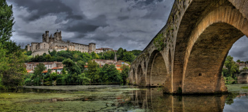 обоя pont vieux,  b&, 233, ziers, города, - мосты, мост