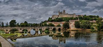 обоя pont vieux y catedral de st,  nazaire,  b&, 233, ziers, города, - мосты, мост