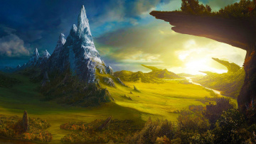 обоя фэнтези, иные миры,  иные времена, пейзаж, вид, долина, камни, вечер, солнце, скалы