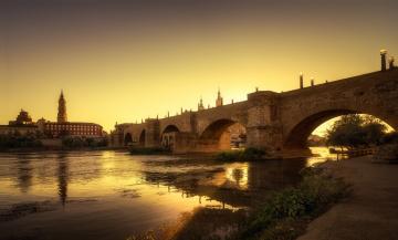 обоя puente de piedra, города, - мосты, мост, река