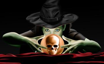обоя фэнтези, маги,  волшебники, шляпа, взгляд, фон, череп, шар, девушка