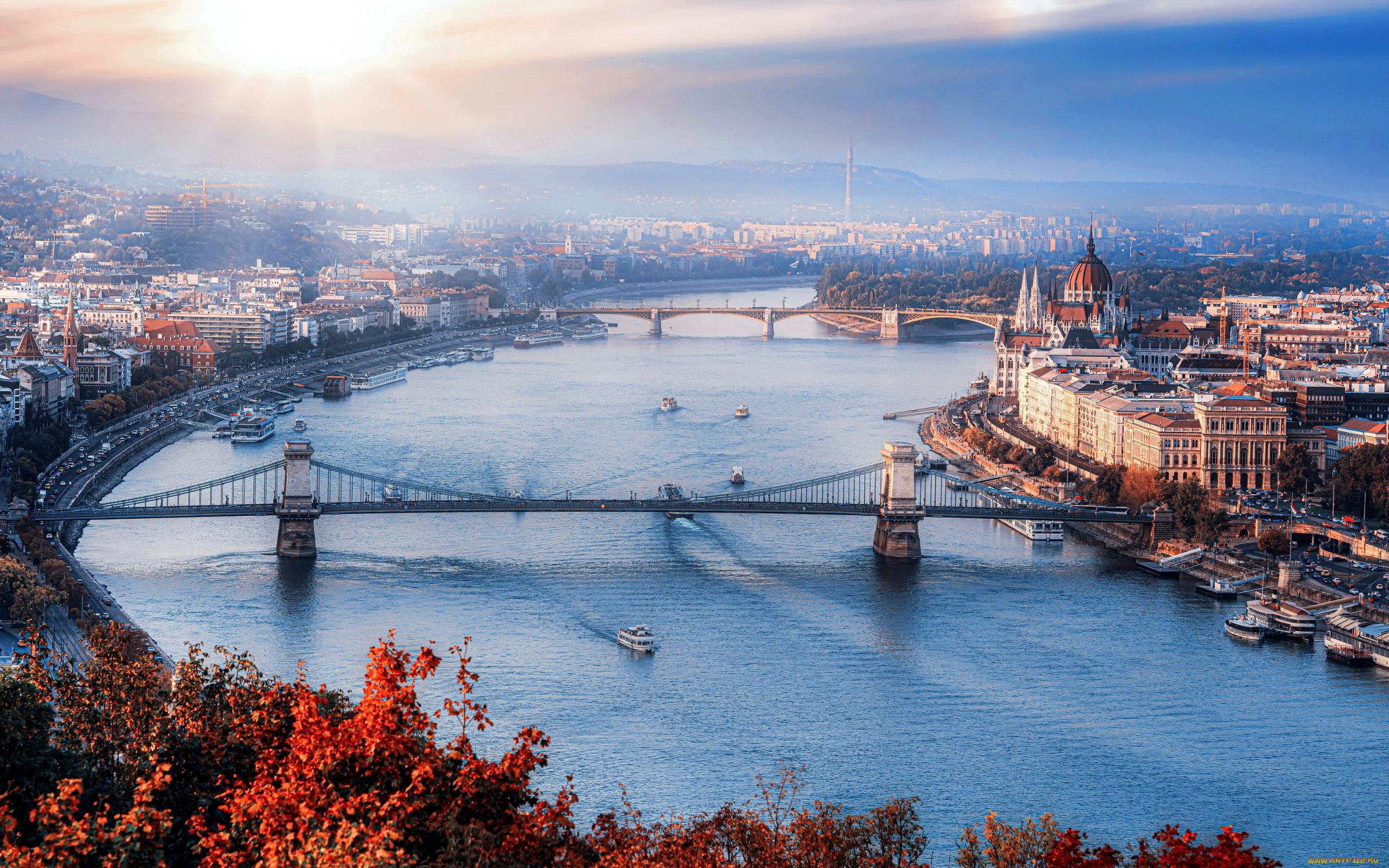 Скачать обои города, будапешт, , венгрия, панорама, река, мосты из раздела  Города, в разрешении 2560x1600