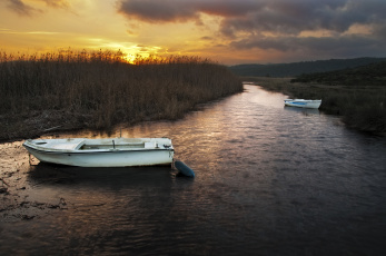 Картинка корабли лодки +шлюпки закат река камыш