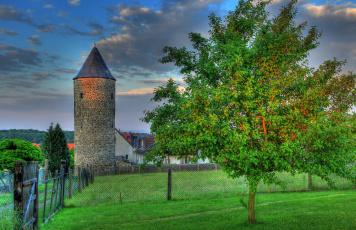 Картинка германия польхайм города пейзажи деревья дома башня