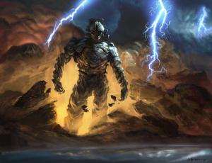 Картинка фэнтези существа обломки молнии камни земля гигант