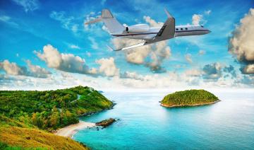 Картинка разное компьютерный+дизайн море тропики остров самолет