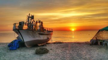 обоя корабли, баркасы ,  буксиры, рассвет