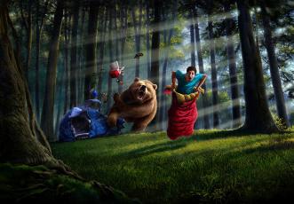 Картинка юмор приколы парень лес медведь палатка спальный мешок ситуация