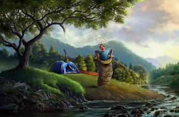 Картинка юмор приколы парень лес пчёлы река палатка спальный мешок ситуация