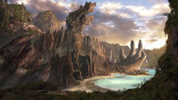 Картинка фэнтези пейзажи пещера цепь берег поселение дома море дракон скалы пейзаж арт