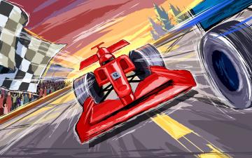 обоя спорт, 3d, рисованные, f1, трибуны, финиш, формула, 1, гонки, автоспорт, ferrari