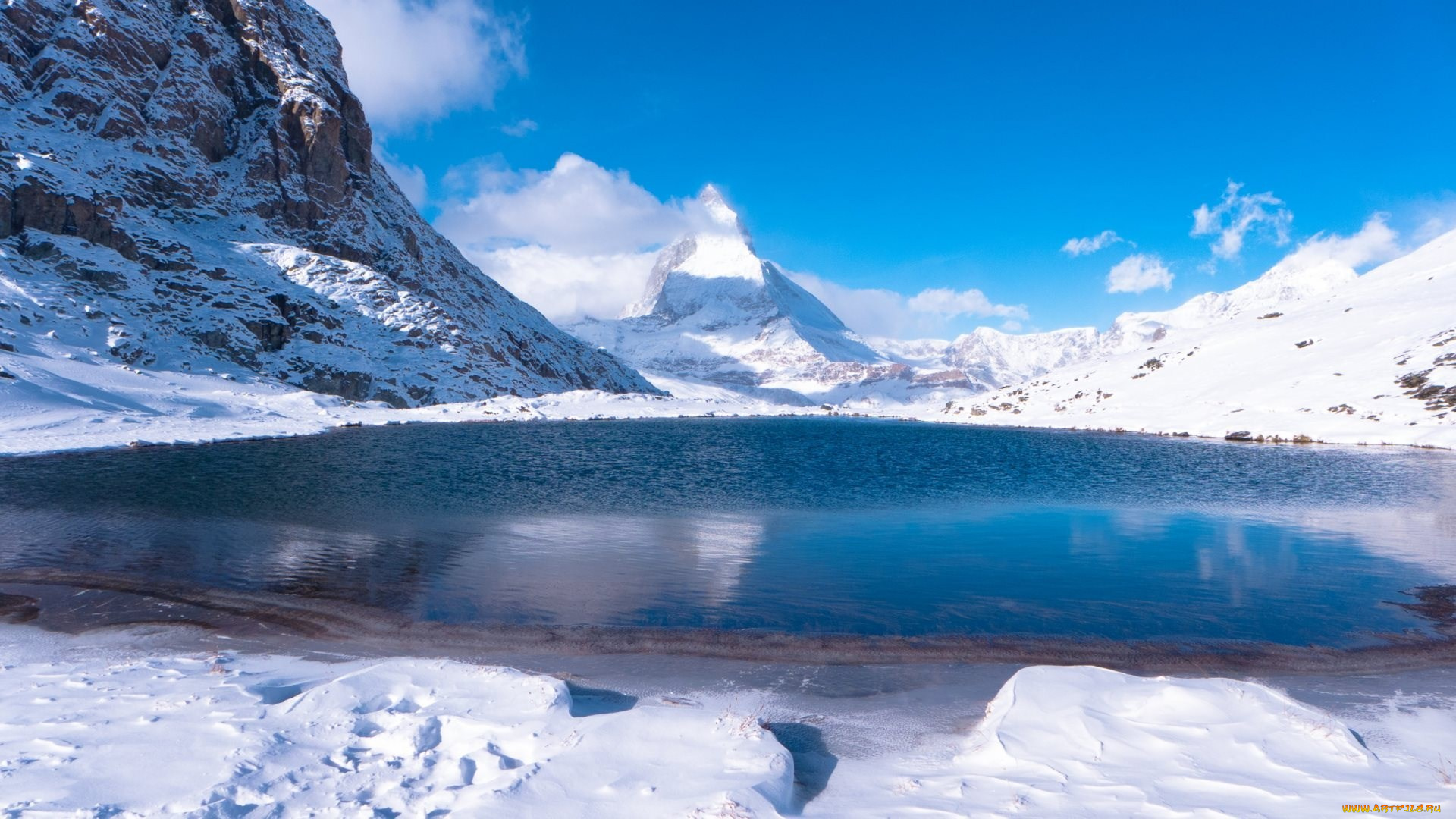 озеро снег гора the lake snow mountain на телефон