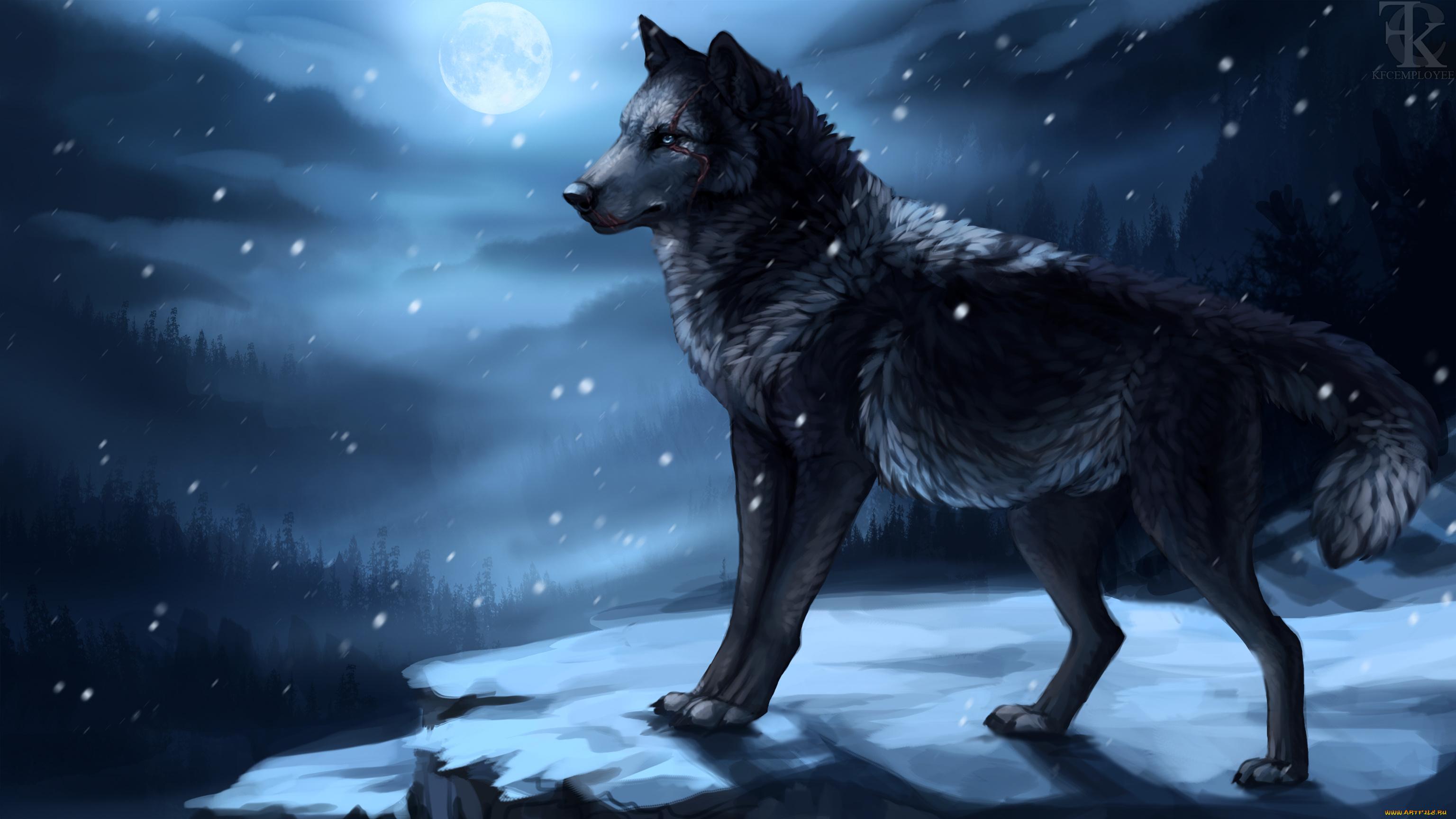 обои на рабочий стол волки нарисованная № 649042 загрузить