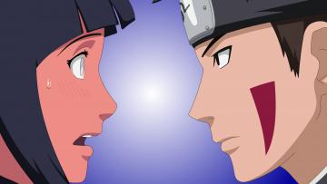 Картинка аниме naruto inuzuka kiba девушка hyuuga hinata парень фон взгляд