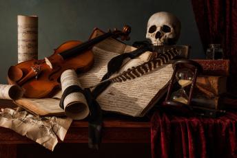обоя музыка, -музыкальные инструменты, скрипка, череп