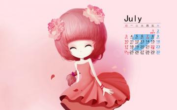 обоя календари, аниме, фон, взгляд, девушка