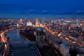 обоя москва, города, москва , россия, фонари, мост, река, здания