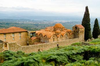 обоя греция, города, - исторические,  архитектурные памятники, деревья
