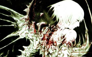 обоя аниме, blame, падший, ангел, кровь, крылья