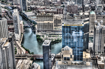 Картинка города Чикаго сша небоскребы река мост