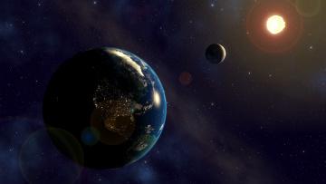 Картинка космос земля звезды солнце луна