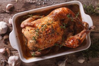 обоя еда, мясные блюда, чеснок, запеченная, курица, розмарин