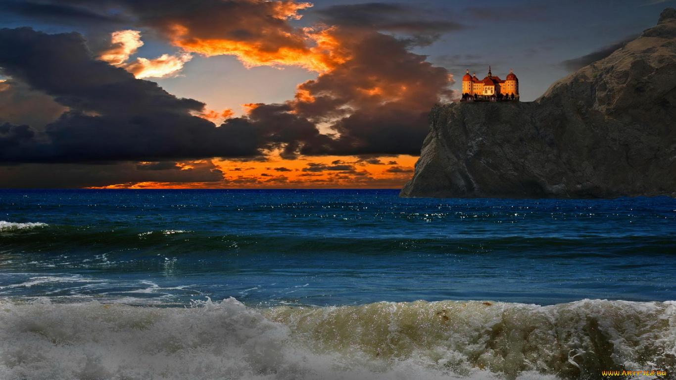 морской замок на закате  № 153771 без смс
