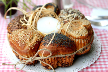 Картинка еда хлеб выпечка свеча бечевка