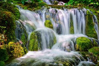 Картинка природа водопады мох камни поток вода