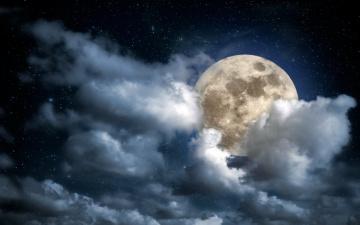 Картинка космос луна звезды небо облака