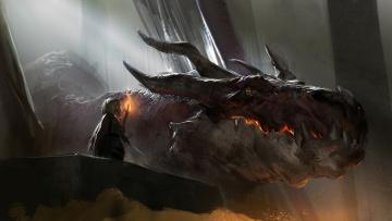 Картинка фэнтези драконы дракон голова человек меч