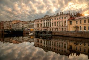 обоя города, санкт-петербург,  петергоф , россия, река, отражение, дома
