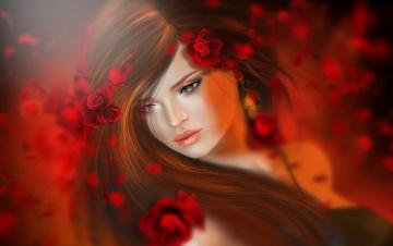 Картинка 3д+графика портрет+ portraits волосы брюнетка девушка красный цветы розы