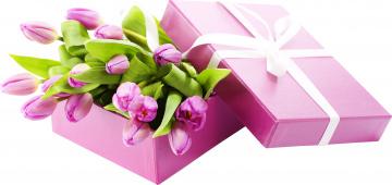 обоя праздничные, день святого валентина,  сердечки,  любовь, тюльпаны, плдарок