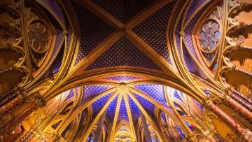 обоя интерьер, убранство,  роспись храма, капелла, париж, франция, готика, сент-шапель, часовня