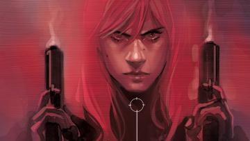 обоя рисованное, комиксы, пистолет, фон, девушка, взгляд