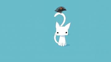 обоя рисованное, минимализм, детская, вектор, птичка, арт, кошка