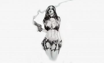 Картинка рисованное люди пистолет взгляд купальник фон девушка