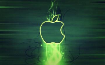 обоя компьютеры, apple, свечение, логотип, яблоко, бренд